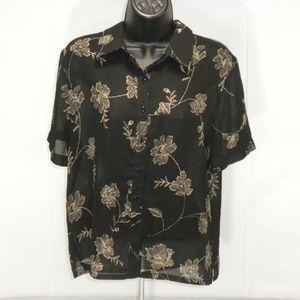 Pendleton Size 10 Floral Semi Sheer Button Down
